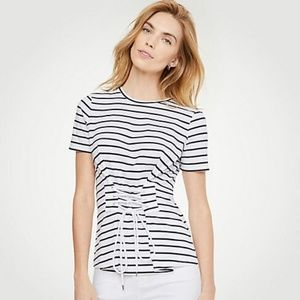 Ann Taylor Striped Corset Tee